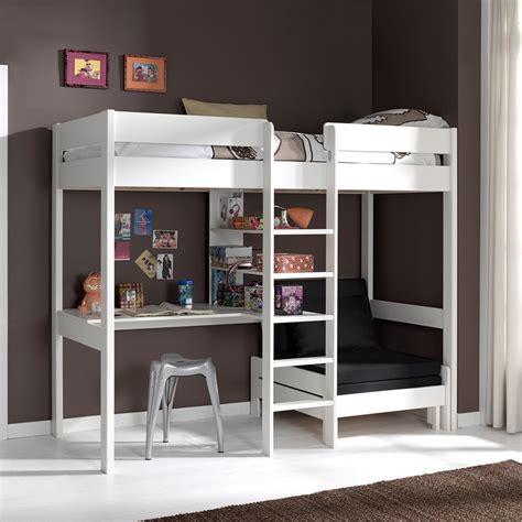 canapé chambre fille lit mezzanine avec fauteuil et bureau aubin en pin massif