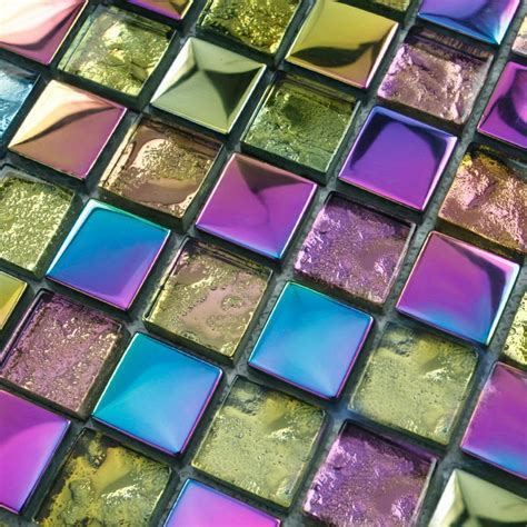 Crystal glass tile designs square electroplated craft
