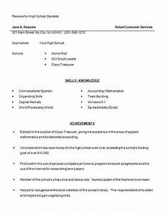 High school resume template 9 free word excel pdf for Free student resume templates download