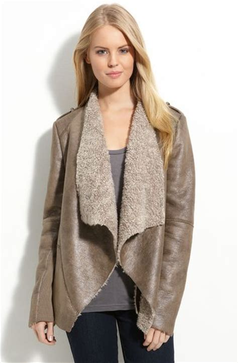 kenneth cole drape front faux shearling coat in brown