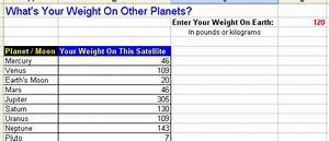 Weight On Other Planets Worksheet - Pics about space