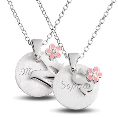 girls initial necklaces  flower accent