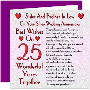 sister brother  law  wedding anniversary card