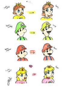 Mario Luigi Peach and Daisy