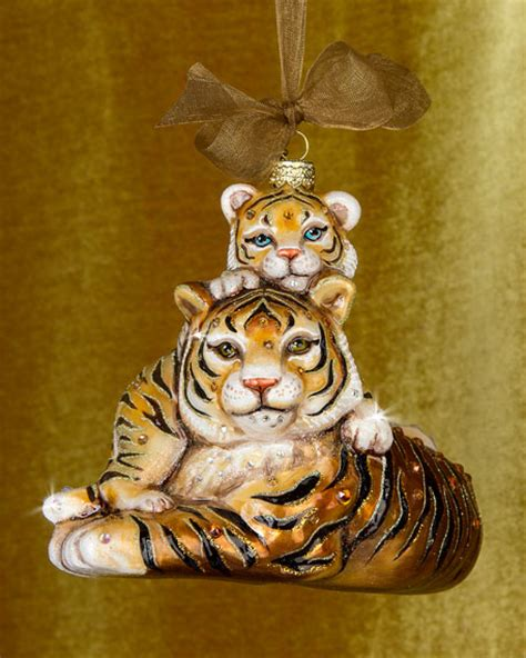 jay strongwater mother baby tiger christmas ornament