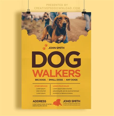 dog flyer template creative flyers walkers walker business creativepsddownload templates ad website banner brochure