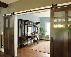20 home offices with sliding barn doors With barn style patio doors