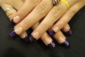 Black purple french nail art gallery