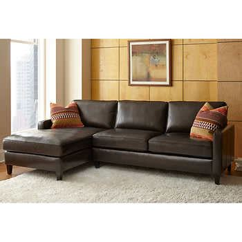 Leather Loveseat With Chaise by Andersen Top Grain Leather Chaise Sectional Walnut Brown