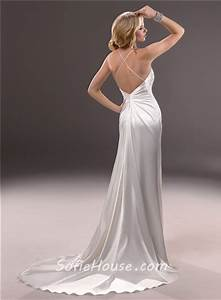 sexy sheath spaghetti strap v neck backless satin wedding With spaghetti strap backless wedding dress