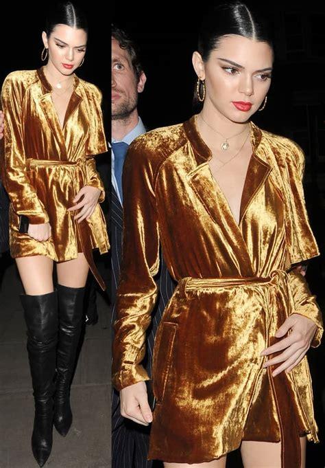 kendall jenner  disco  gold velvet dress  black