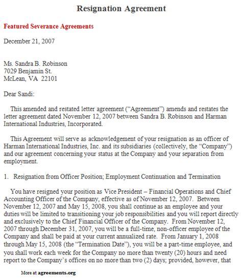 resignation agreement sample resignation agreement template