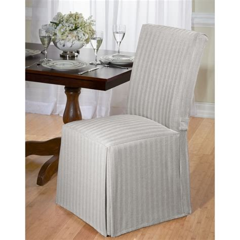 shop cotton herringbone dining chair slipcover overstock