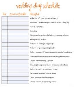 Wedding Day Timeline Schedule Template