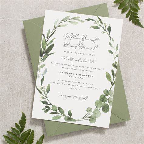 Sage Wedding Invitations Greenery Wreath Wedding Invite