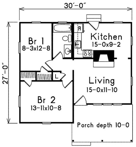 Cottage Style House Plan 2 Beds 1 00 Baths 733 Sq/Ft