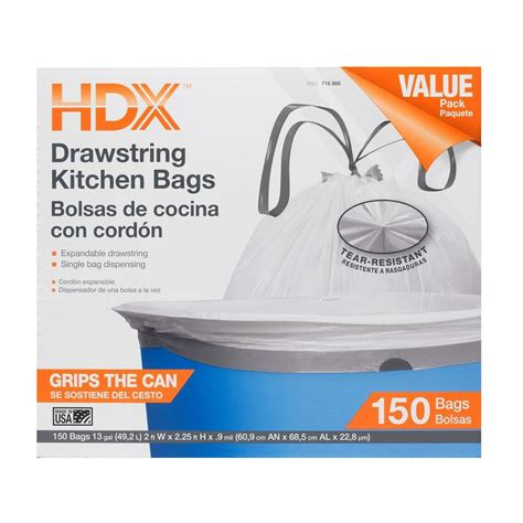 Home Depot Kitchen Garbage Bags by Hdx 13 Gal Kitchen Drawstring White Trash Bag 150 Count