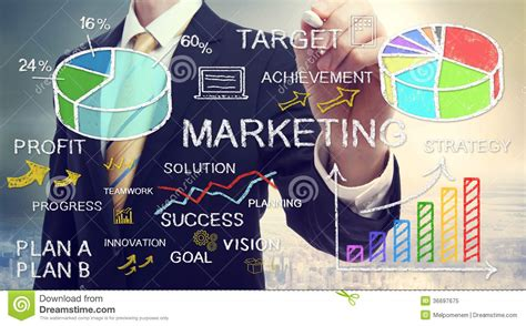 company marketing businessman drawing marketing concepts stock image image