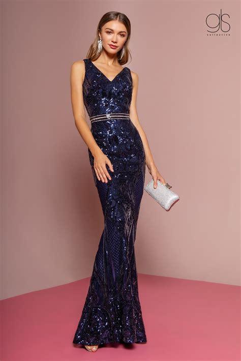 GL2675 Elizabeth K Sequined Long V-Neck Trumpet Dress $316 ...