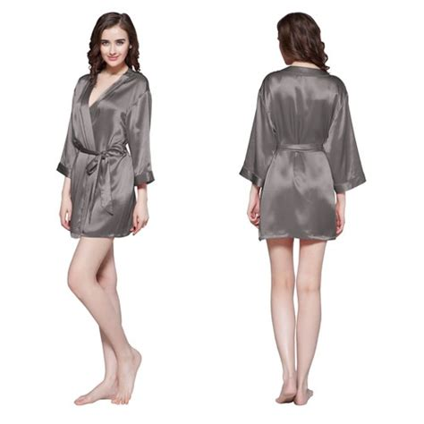 robe de chambre satin femme 22 momme mini cut silk robe
