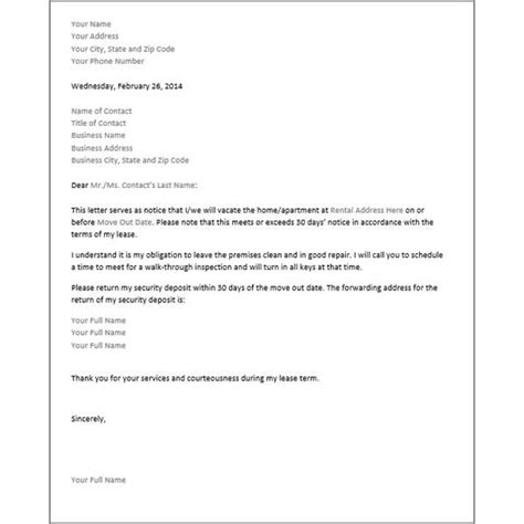 printable sample  day notice  vacate letter form
