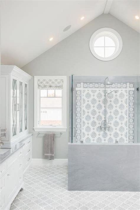 Blue Arabesque Shower Ceiling Tiles Design Ideas