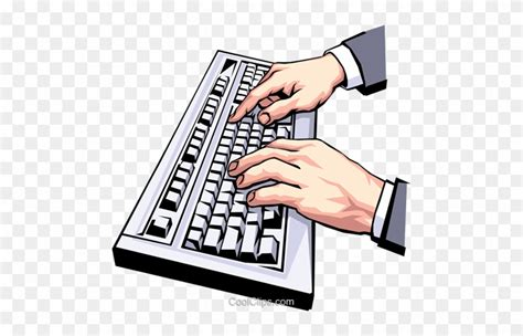 hands typing  keyboard royalty  vector