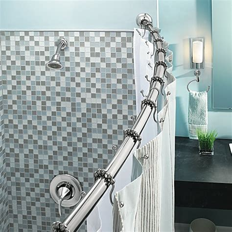 bed bath and beyond shower curtain rod moen 174 adjustable curved chrome shower rod bed bath beyond