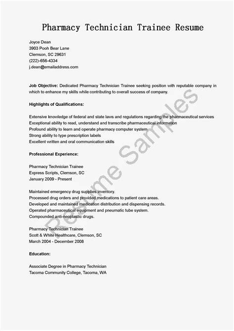 Resume Samples: Pharmacy Technician Trainee Resume Sample