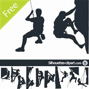 Climbing clipart silhouette - Pencil and in color climbing ...