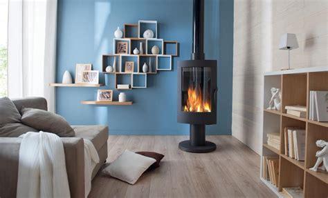 chambre mur violet décoration salon bleu