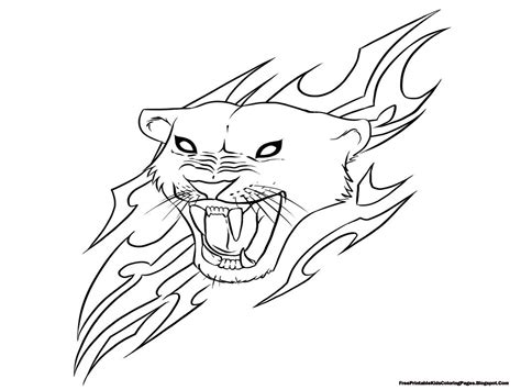 jaguar head  flare coloring pages printable