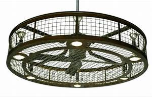 Ceiling fan enclosed with light cage intended for