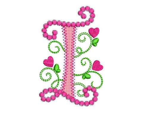 Cute Letter I Alphabet For Lil Princess Hearts Applique