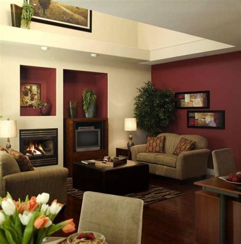 burgundy walls beige living room firep modern home