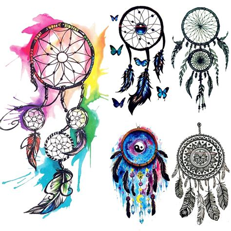 water color dreamcatcher tribal temporary tattoo women