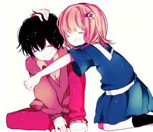 Cute Anime Chibi Boy and Girl Blushing