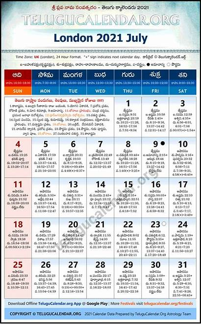 London 2021 Calendar Telugu July Festivals Holidays