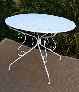 Table Jardin Fer Forgé : salon de jardin ancien en fer forge peint en blanc ~ Dailycaller-alerts.com Idées de Décoration