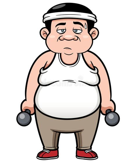foto de Fat man with dumbbells stock vector Illustration of round