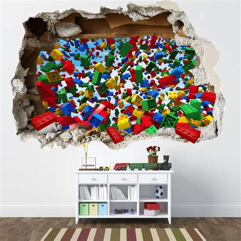 Lego Bedroom Wall Decals details about lego smashed wall sticker 3d bedroom lego