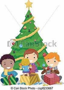 Kids Opening Gifts Royalty Free EPS Clip Art csp