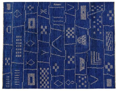 Contemporary Moroccan Style Area Rug In Cobalt Blue With