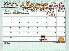 November 2018 Calendar Thanksgiving Calendar Template
