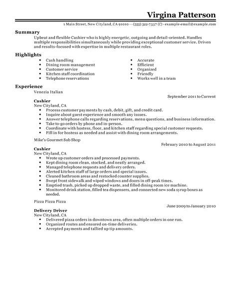 How To Put Cashier On A Resume by Best Restaurant Cashier Resume Exle Livecareer