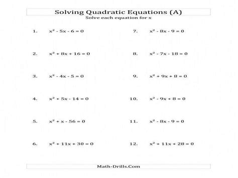 Quadratic Formula Worksheet Homeschooldressagecom