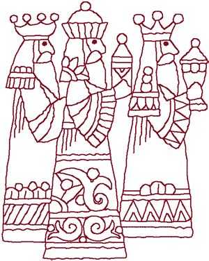 Three Good Things Template by Redwork Three Wise Men Embroidery Design Three Wise Men