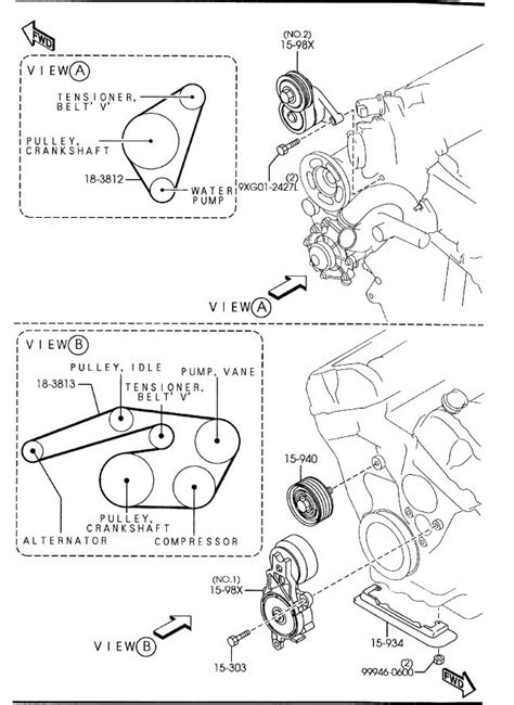 2003 2008 mazda mazda 6 v6 3 0l serpentine belt diagram