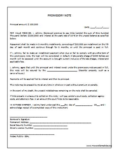 promissory note template word promissory note template e commercewordpress