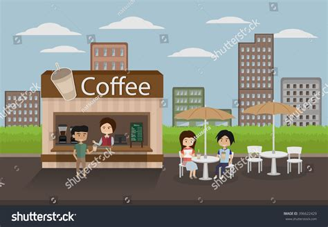 Download high quality coffee shop cartoons from our collection of 41,940,205 cartoons. People Sitting At Outdoor Coffee Shop With City Background ...